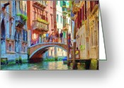 Gondola Digital Art Greeting Cards - View from the Canal Greeting Card by Jeff Kolker