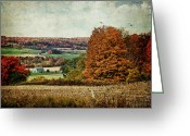 Country Framed Print Greeting Cards - View from the hill... Greeting Card by Lianne Schneider