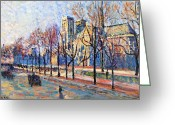Bare Trees Painting Greeting Cards - View from the Quay Montebello Greeting Card by Maximilien Luce