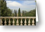 Banister Greeting Cards - View from Tivoli Greeting Card by Mindy Newman