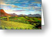 African Mountain Greeting Cards - View from Warwick Vineyard Greeting Card by Michael Durst