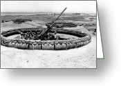 Gun Barrel Greeting Cards - View Of A 90mm Aaa Gun Emplacement Greeting Card by Stocktrek Images