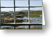 Window Panes Greeting Cards - View Of A Harbor Through Window Panes Greeting Card by Pete Ryan