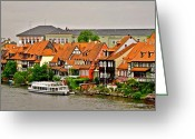 Bamberg Greeting Cards - View of Bamberg Riverfront Greeting Card by Kirsten Giving