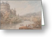Spring Scenes Painting Greeting Cards - View of Bath from Spring Gardens  Greeting Card by Thomas Hearne