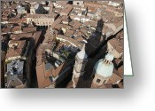Exterior Buildings Greeting Cards - View Of Bologna From The Torre Degli Greeting Card by Gina Martin