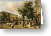 Versailles Greeting Cards - View of Boulevard Montmartre Greeting Card by Guiseppe Canella