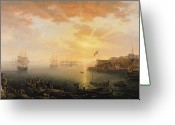 Sunset Scenes. Painting Greeting Cards - View of Brest Harbor Greeting Card by Jean Francois Hue
