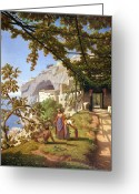 Theodore Greeting Cards - View of Capri Greeting Card by Theodore Aligny