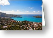 Cruise Ships Greeting Cards - View of Charlotte Amalie St Thomas US Virgin Islands Greeting Card by George Oze