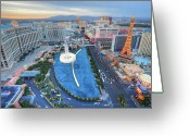 Las Vegas Greeting Cards - View Of City Greeting Card by Eric Lo
