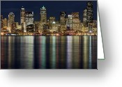 Seattle Waterfront Greeting Cards - View Of Cityscape At Night Greeting Card by Stephen Kacirek