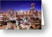 Illuminated Greeting Cards - View Of Cityscape Greeting Card by jld3 Photography