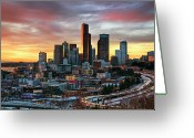 Washington State Greeting Cards - View Of Columbia Tower Greeting Card by Stephen Kacirek