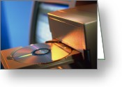 Cd Greeting Cards - View Of Computer Compact Disc In A Drive Greeting Card by Tek Image