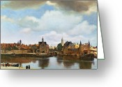 Church Greeting Cards - View of Delft Greeting Card by Jan Vermeer
