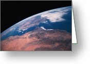 Space.planet Greeting Cards - View Of Earth From Space Greeting Card by Stockbyte