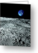 Moon Surface Greeting Cards - View Of Earth From The Moon Greeting Card by Caspar Benson