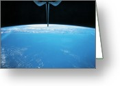 Shuttle Greeting Cards - View Of Earth From The Space Shuttle Greeting Card by Stockbyte