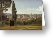 Jardins Greeting Cards - View of Florence from the Boboli Gardens Greeting Card by Jean Baptiste Camille Corot