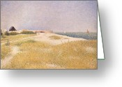 Pointillist Painting Greeting Cards - View of Fort Samson Greeting Card by Georges Pierre Seurat