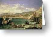 Landing Painting Greeting Cards - View of Genoa Greeting Card by William Parrott