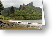 French Polynesia Greeting Cards - View Of Hatiheu Bay And Surrounding Greeting Card by Tim Laman