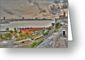 Discovery Channel Greeting Cards - View of Havana from Morro Castle. Cuba Greeting Card by Juan Carlos Ferro Duque