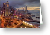 Hong Kong Greeting Cards - View Of Hong Kong Greeting Card by Marty Windle