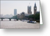 Nautical Vessel Greeting Cards - View Of  Houses Of Parliament, London, England, Uk Greeting Card by Tony Eveling