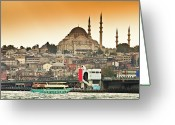 Waterfront Greeting Cards - View Of Istanbul Greeting Card by (C) Thanachai Wachiraworakam