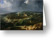 Stormy Sky Greeting Cards - View of Jerusalem from the Valley of Jehoshaphat Greeting Card by Auguste Forbin