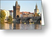Karluv Most Greeting Cards - View of Karluv Most Prague Greeting Card by Nimmi Solomon
