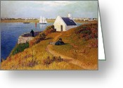 Sea Cottage Greeting Cards - View of Lorient in Brittany Greeting Card by Henry Moret