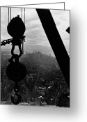 Ny Ny Greeting Cards - View of Lower Manhattan from the Empire State Building Greeting Card by LW Hine