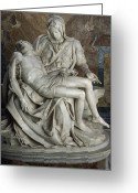 Religious Photo Greeting Cards - View Of Michelangelos Famous Sculpture Greeting Card by James L. Stanfield