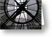 Station Greeting Cards - View of Montmartre through the clock at Museum Orsay.Paris Greeting Card by Bernard Jaubert