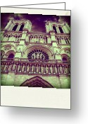 Notre Dame Greeting Cards - View of ND de Paris on river Seine. Paris Greeting Card by Bernard Jaubert