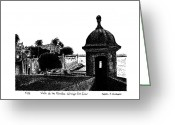 Puerto Rico Drawings Greeting Cards - View of Old San Juan Greeting Card by Angel Serrano