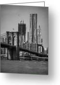 Suspension Greeting Cards - View Of One World Trade Center And Brooklyn Bridge Greeting Card by Matt Pasant