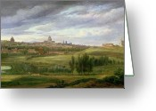 Outskirts Greeting Cards - View of Paris from Butte aux Cailles Greeting Card by Jean Baptiste Gabriel Langlace