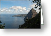 St. Lucia Photographs Greeting Cards - View of Petit Piton from Gros Piton  Greeting Card by Bill Mortley