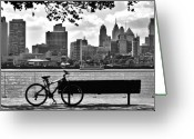 Camden Greeting Cards - View of Philadelphia  Greeting Card by Andrew Dinh