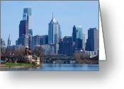 Boathouse Row Greeting Cards - View of Phliadelphia from West River Drive. Greeting Card by Bill Cannon