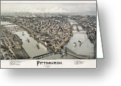 Turn Of The Century Greeting Cards - View Of Pittsburgh, 1902 Greeting Card by Granger