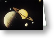 Saturn Greeting Cards - View Of Planets In The Solar System Greeting Card by Stockbyte