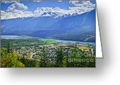 Above Greeting Cards - View of Revelstoke in British Columbia Greeting Card by Elena Elisseeva