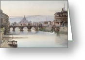 Roma Greeting Cards - View of Rome Greeting Card by I Martin