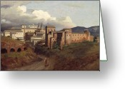 Saint Jean De Latran Greeting Cards - View of Saint John Lateran Rome Greeting Card by Joseph Desire Court