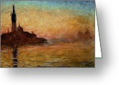 Canals Painting Greeting Cards - View of San Giorgio Maggiore Venice by Twilight Greeting Card by Claude Monet